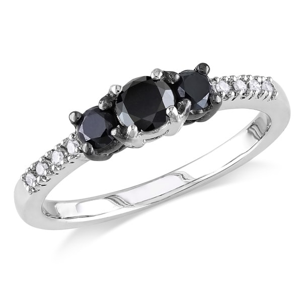 Haylee Jewels Sterling Silver Black and White Diamond 3-stone Engagement Ring