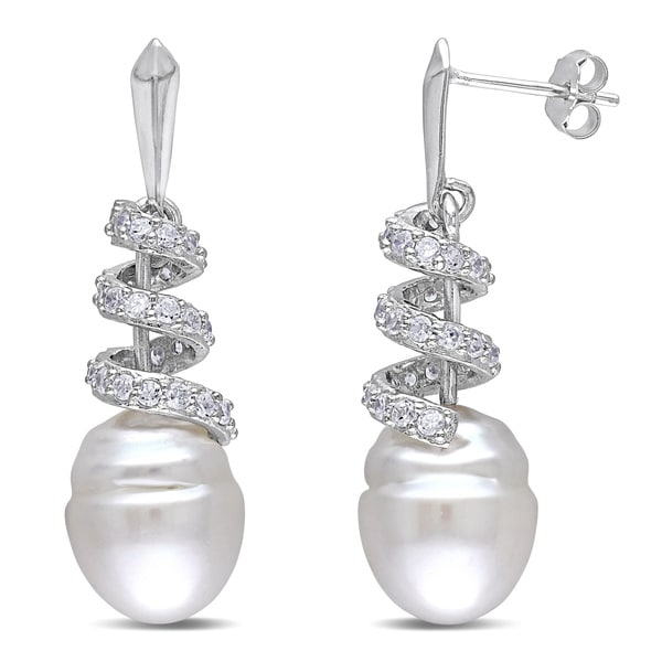 Miadora Sterling Silver South Sea and Cubic Zirconia Drop Earrings