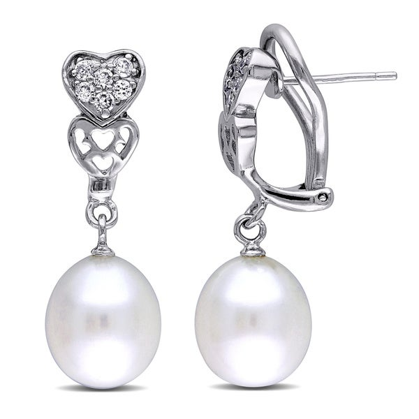 Miadora Sterling Silver White Pearl and Cubic Zirconia Heart Earrings