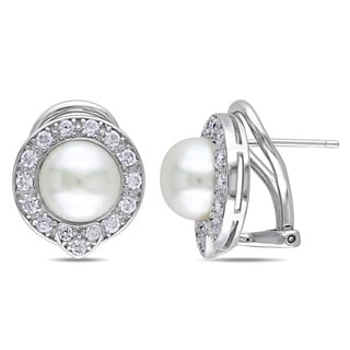 Miadora Sterling Silver Pearl and Cubic Zirconia Halo Earrings