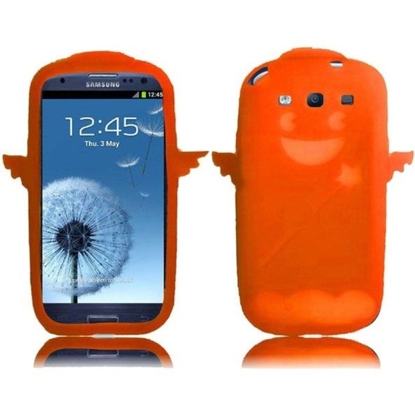 INSTEN Orange Devil & Angel 3D Rubber Soft Silicone Soft Skin Gel Phone Case Cover for Samsung Galaxy S3