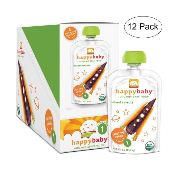 Happy Baby Carrots/ Purple Carrots Stage 1 Food Pouch (12 Pack)