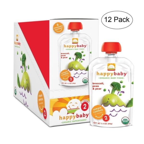 Happy Baby Broccoli/ Peas/ Pear Stage 2 Food Pouch (12 Pack)