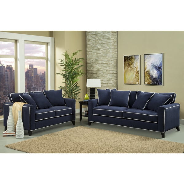 Modern Denim Blue Fabric Sectional Sofa Set Modern Sectional Sofas Blue Sofa And Loveseat Sets