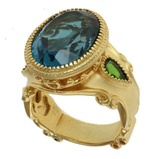 Dallas Prince Gold over Silver and London Blue Topaz and Chrome Diopside Ring