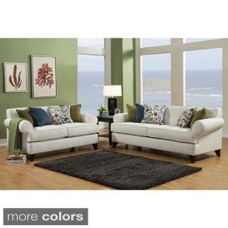 Furniture of America Kenzi Chenille Fabric Sofa & Loveseat Set