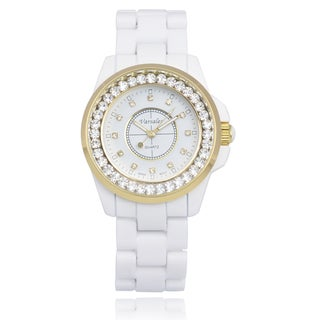 Varsales Women's Ceramic Cubic Zirconia Link Watch