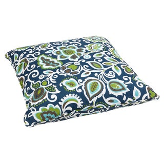 Floral Navy Corded Outdoor/ Indoor Large 28-inch Floor Pillow