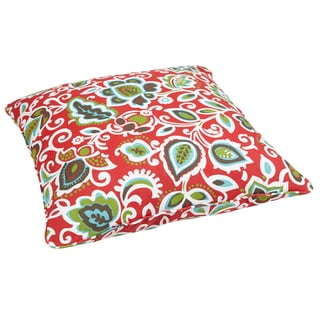 Floral Red Corded Outdoor/ Indoor Large 28-inch Floor Pillow