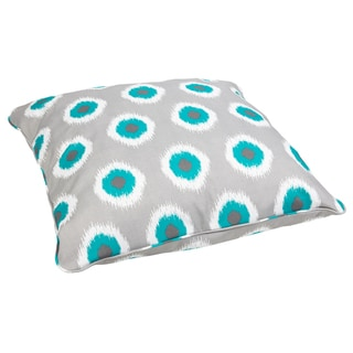 Ikat Teal Dots Corded Outdoor/ Indoor Large 28-inch Floor Pillow