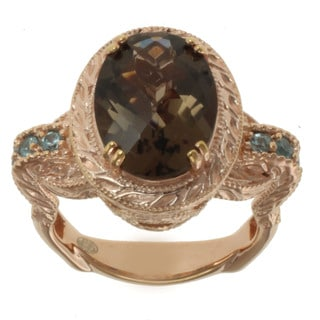 Dallas Prince Rose Gold over Silver and Smoky Quartz and Blue Zircon Ring