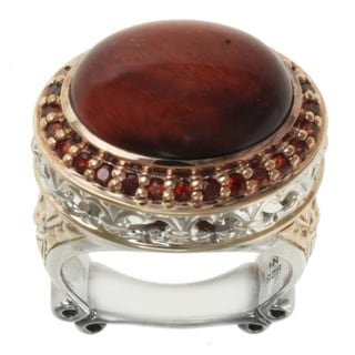 Dallas Prince Two-tone Tiger Eye and Garnet Ring