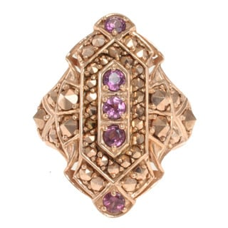 Dallas Prince Rose Gold over Silver Rhodolite and Marcasite Ring