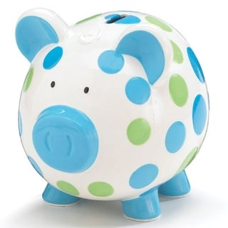 Burton and Burton Bank Boy Pig in Blue Dots