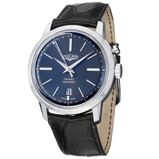 Vulcain Men's '50 Presidents' Black Dial Black Leather Strap Watch