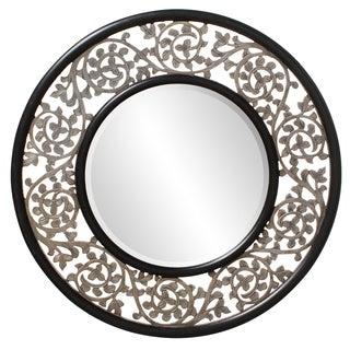 Wood Scrolled Leaf Frame Round Bounty Mirror