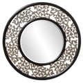 Wood Scrolled Leaf Frame Round Bounty Mirror