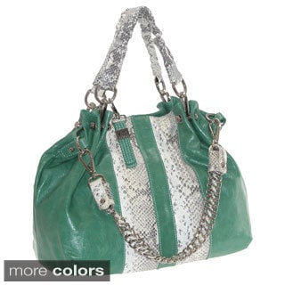 Buxton 'Jasmine' Glazed Leather Snakeskin Print Satchel