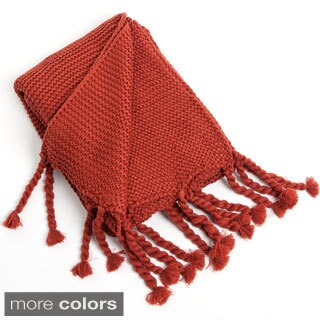 Knitted Throw with Chunky Tassels
