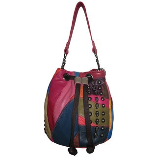 Amerileather Rainbow Patched Lambskin Studded Mini Purse