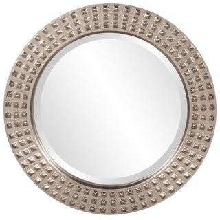Spike Bright Silver Leaf Round Mirror