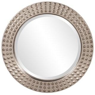 Spike Bright Silver Leaf Round Mirror