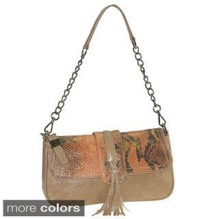 Buxton 'Jasmine' Glazed Leather Snakeskin Shoulder Clutch