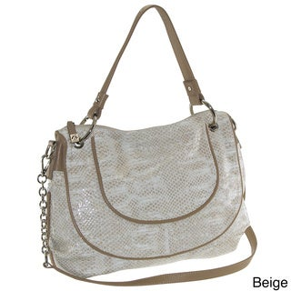 Buxton 'Sophie' Glazed Leather Snakeskin Print Shoulder Bag