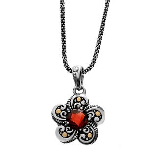 Neda Behnam Samuel B. Sterling Silver and 18k Yellow Gold Garnet Flower Charm Pendant Necklace