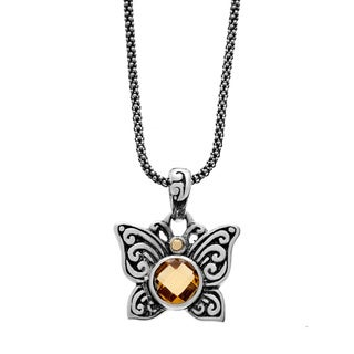 Neda Behnam Samuel B. Sterling Silver and 18k Yellow Gold Citrine Butterfly Charm Pendant Necklace
