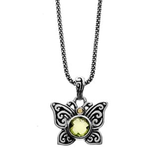 Neda Behnam Samuel B. Sterling Silver and 18k Yellow Gold Accent Peridot Butterfly Charm Pendant Necklace