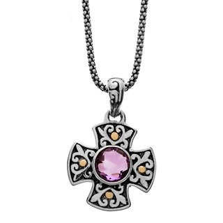 Samuel B. Sterling Silver and 18k Yellow Gold Accent Amethyst Cross Charm Pendant Necklace