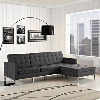 Loft Series Left-arm Corner Dark Grey Wool 2-piece Sectional Sofa