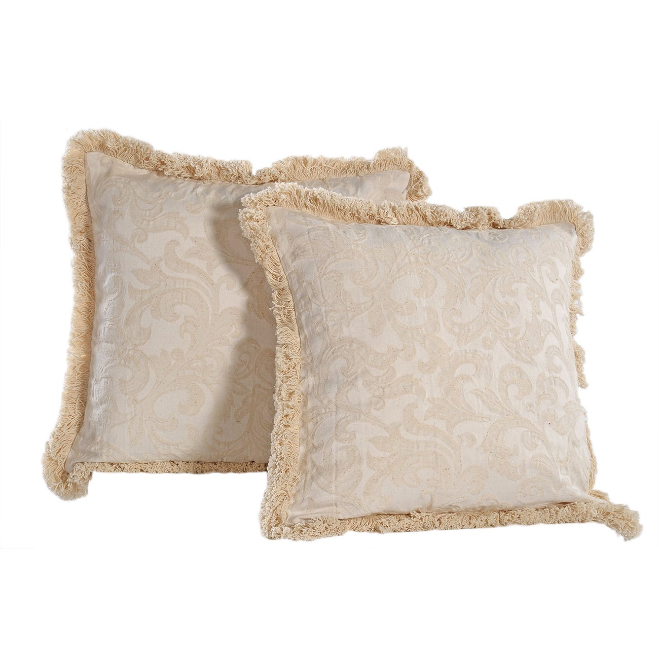 Decorative Throw Pillows With Fringe : Washed Damask Pattern Fringed Square Soft Removable Cover Off-White Decorative Pillows (set of 2 ...