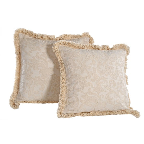 Washed Damask Pattern Fringed Square Soft Removable Cover Off-White Decorative Pillows (set of 2 ...
