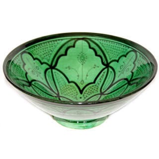 Moroccan Green Ceramic Serving Bowl (Morocco)