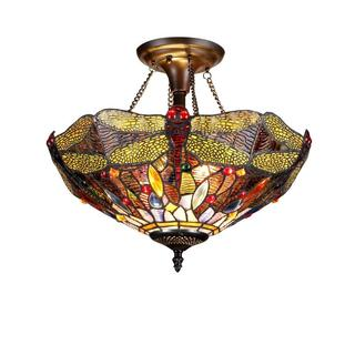 Tiffany Style Dragonfly Design Exotic Colorful Glass 2-light Flush Mount Lighting Fixture