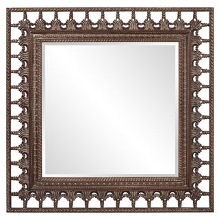 Wheel Faux Walnut Square Mirror