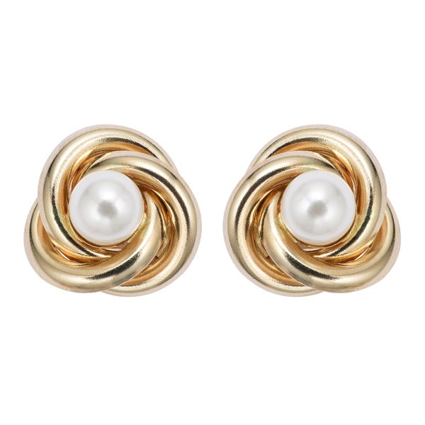 Pearlyta 14k Gold Love Knot Freshwater Pearl Stud Earrings with Gift Box (5mm)