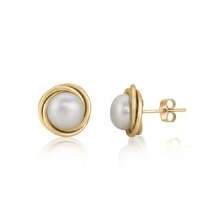 Pearlyta 14k Gold Love Knot Pearl Stud Earrings with Gift Box