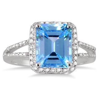Sterling Silver .03ct TDW Emerald Cut Blue Topaz and Diamond Ring (I-J, I1-I2)