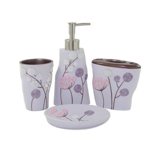 Elegant Flower 4-piece Bath Accessory Set