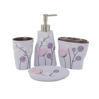 Elegant Flower Bath Accessory 4-piece Set