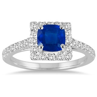 14k White Gold .45ct TDW Cushion Cut Sapphire and Diamond Halo Ring