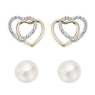 Pearlyta 14k Gold White Pearl and Cubic Zirconia Double Heart Stud Earring Set with Gift Box