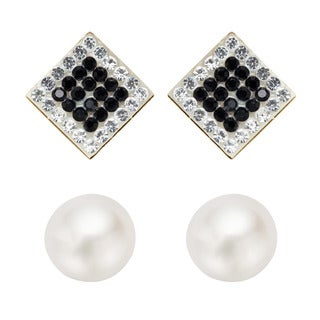Pearlyta 14k Gold Round Pearl and Black CZ Square Stud Earrings Set with Gift Box