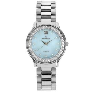 Peugeot Women's Silver-Tone Crystal Bracelet Watch