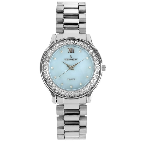 Peugeot Women's Silver-Tone Crystal Bracelet Watch
