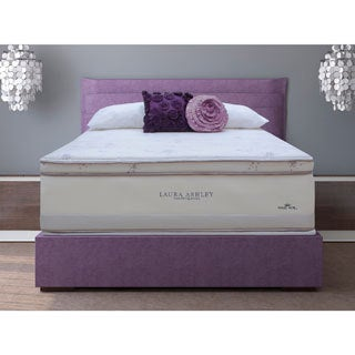 Laura Ashley Lavender Euro Pillowtop Queen-size Mattress and Foundation Set