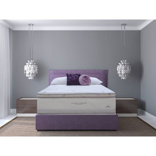Laura Ashley Lavender Euro Pillowtop King-size Mattress and Foundation Set